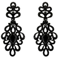 188-JET BLACK Fashion Party Wedding Jewelry Tear Drop Dangle... (€11) ❤ liked on Polyvore featuring jewelry, earrings, earring jewelry, rhinestone earrings, tear drop earrings, dangle chandelier earrings and wedding jewelry