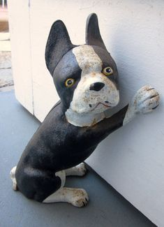 RARE Vintage Cast Iron Black White Boston Terrier by welovelucite, $148.88