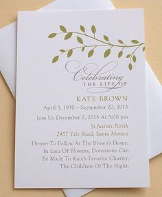 Celebration Of Life Invitation With Green Leaves   Personalized   FLAT  Cards   3 1/2u0027u0027 X 4 7/8u0027u0027