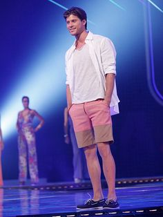 (Featured on NBC's FASHION STAR) These linen-blend European-cut shorts are cuffed at the hem.