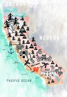 California Illustrated Map by Sara Darouian, via Behance