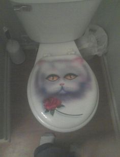 An airbrushed cat on a toilet seat: | 50 Things You Will Never See In Real Life