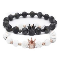 Crown Lover Bracelets! Beautiful & unique couple bracelets were created exclusively for two lovers. Made with high quality beads, these bracelets are bound to increase positivity in your relationship and create an everlasting bond.