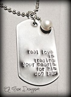 trading pearls for dog tags. military sweetie, wife girlfriend necklace, military jewelry. $25.00, via Etsy.