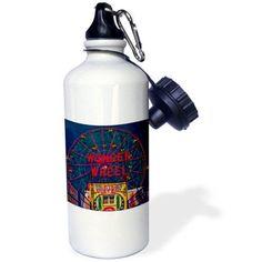 3dRose Wonder Wheel Coney Island, Sports Water Bottle, 21oz