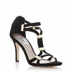 DUNE LADIES Black HARLEIGH - Metal Tab Single Sole Sandal | Dune Shoes Online