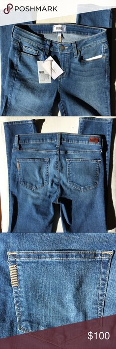"""❗️GONE MONDAY❗️PAIGE Skyline Ankle PEG Dani Jeans Super soft PAIGE jeans, skinny fit, boot cut. Size 29. Never worn, NWT.  Light to medium wash denim.  Waist Flat: 15"""" Inseam: 28"""" Rise: 9"""" Ankle width flat: 6""""  No trades please. Offers welcome. Anthropologie Jeans Ankle & Cropped"""