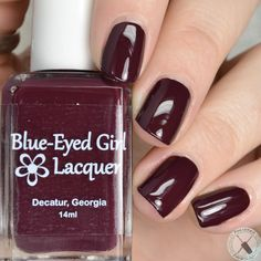 """Deep scarlet creme. Can be used in one coat, as a stamping polish, and with water marbling. """"Rent Boy"""" from Blue-Eyed Girl Lacquer"""