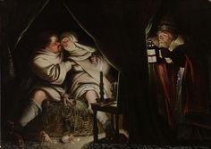 Satire op het celibaat, anoniem, ca. 1600 - ca. 1649, olieverf op paneel, 29,7x41,5cm.