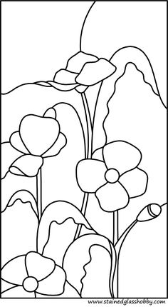 Four poppies stained glass pattern