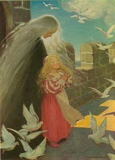 She clapped her hands with delight, and up rose such a flapping of wings - The Princess and the Goblin by George MacDonald, 1920
