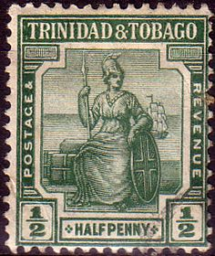 Trinidad and Tobago 1913 Britania SG 149 Fine Mint Scott 1  Other Trinidad and Tobago Stamps HERE