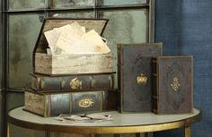 Faux leather boxes with with vintage letters