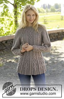 "Alana - Knitted DROPS jumper with cables and raglan, worked top down in ""Karisma"". Size S-XXL - Free pattern by DROPS Design"