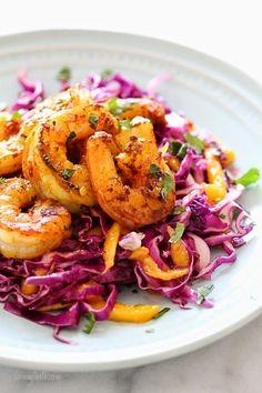 Turmeric-Garlic Shrimp with Cabbage-Mango Slaw