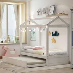 15+ Reasons to Fall in Love with Floor Beds momooze.com Twin Canopy Bed, Twin Daybed With Trundle, Toddler Trundle Bed, Girls Trundle Bed, Girls Twin Bed, Girls Canopy Beds, Twin Size Toddler Bed, Ikea Twin Bed, White Toddler Bed
