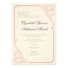 Vintage Scrolls Wedding Invitation Dusty Rose 2B