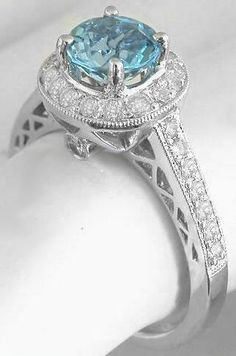 Aquamarine Diamond Ring. My birth stone!