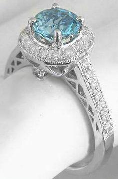 Aquamarine Diamond Ring. My birth stone!