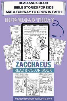 Kids can learn about Zacchaeus in this printable Bible storybook. Read and color the story of Zacchaeus and Jesus from the New Testament.This printable Bible storybook is a sweet and simple way to help children become familiar with the New Testament. Great for family Bible study time or Sunday School lessons. Homeschool Supplies, Homeschool Books, Homeschool Curriculum, Homeschooling, Activity Sheets For Kids, Printable Activities For Kids, Zacchaeus, Catholic Doctrine, Family Bible Study