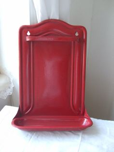 Vintage country old red enamel utensil rack / holder.