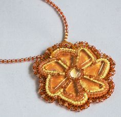 """Gentle sun pendant. Bead embroidery and cabochons. $17. Кулон """"Нежное солнце"""", 550 р."""
