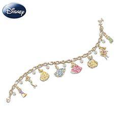 Disney Princess Charm Bracelet 8 Disney Princess charms with 24K-gold plating, Swarovski® crystals, plus tiara charm and dangling Swarovski crystal briolettes. Gift box.