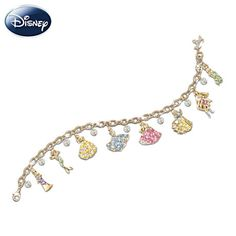 Disney Princess Charm Bracelet  8 Disney Princess charms with 24K-gold plating, Swarovski® crystals, plus tiara charm and dangling Swarovski crystal briolettes. Gift box.