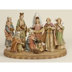 "8-Piece 11"" Wood-look Nativity Set w/Base"