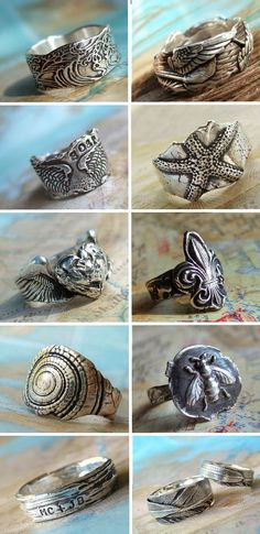 Cool Silver Jewelry, Handmade Silver Rings by HappyGoLicky. See HappyGoLickyJewelry.com for 30+ designs & use 10% off coupon code: PIN10