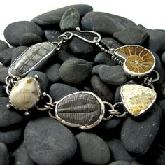 Fossilized Ocean Bracelet - Sterling Silver and Fossils - One of a Kind, by NinaGibsonDesigns