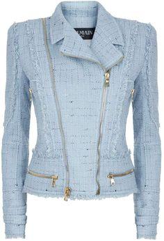 Balmain Tweed Biker Jacket available to buy at Harrods.Shop clothing online and earn Rewards points. Tweed Jacket, Tweed Dress, Leather Jacket, Moto Jacket, Cute Skirt Outfits, Classy Outfits, Balmain Jacket, Metallic Jacket, Short Lace Dress