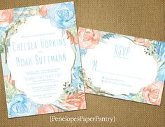 Elegant Spring Wedding Invitations, Baby Blue and Peach Watercolor Roses, Bracket Border, Shimmery,Opt RSVP Card,Customizable With Envelopes