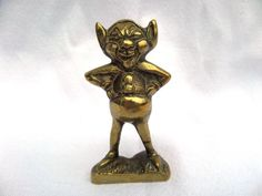 "Brass Pixie, Laughing, Cornish Pixie, Cheeky and Tubby Good Luck Charm, Mid Century Ornament, 1960's, 2.5"" x 1.75"" x 1, Excellent Condition by BlackSquirrelHome on Etsy https://www.etsy.com/uk/listing/521843066/brass-pixie-laughing-cornish-pixie"