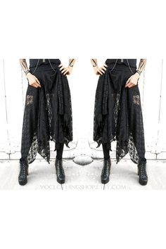 Witchy pointed long sheer black stretch lace gothic princess skirt with lots of fullness and a curly petal edge ruffled hem. Super comfy cotton spandex waistband sits just below your natural waistline, or you can pull it down over your hips for extra length. This skirt is SEE-THRU to the waistband.  Now Available! WITCHY HALF SLIP: www.etsy.com/listing/460304368/  SIZES + YOUR WAIST MEASUREMENT:  XS - 24 S - 26 S/M - 27.5 M - 29 M/L - 30.5 L - 32 L/XL - 34 XL - 36 XXL - 40  Waist = smallest p... Sheer Maxi Skirt, Dress Skirt, Stretch Lace, Black Laces, New Fashion, Dark Fashion, Gothic Fashion, My Style, Goth Style