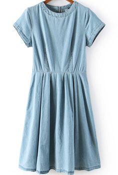 Blue Short Sleeve Zipper Pleated Denim Dress - Sheinside.com