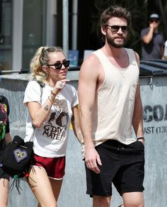 Cry With Me as We Look at Miley Cyrus and Liam Hemsworth's Relationship Liam Hemsworth And Miley, Miley And Liam, Chris Hemsworth, Hollywood Couples, Celebrity Couples, Celebrity Photos, Miley Cyrus Outfit, Hemsworth Brothers, Famous Couples