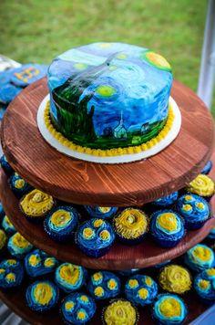 Starry Night cake/cupcake tower by Shannon Baldauf. Pretty Cakes, Cute Cakes, Homemade Birthday Cakes, Painted Cakes, Novelty Cakes, Wedding Cake Toppers, Wedding Cupcakes, Occasion Cakes, Fancy Cakes
