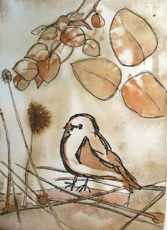 Pen drawing on eco printed paper by Cherie Livni -bird stamp by Dina Wakley
