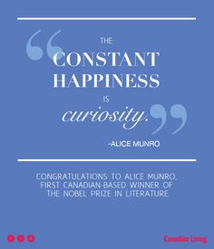 Congrats to Alice Munro on winning the Nobel Prize in Literature!