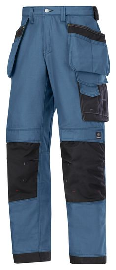 Amazing work #trousers made in extremely comfortable yet durable Canvas+ fabric in the color blue. Features an advanced cut with Twisted Leg™ design, Cordura® reinforcements for extra durability and a range of pockets, including holster pockets and phone compartment. - Snickers Workwear Artnr. 3214