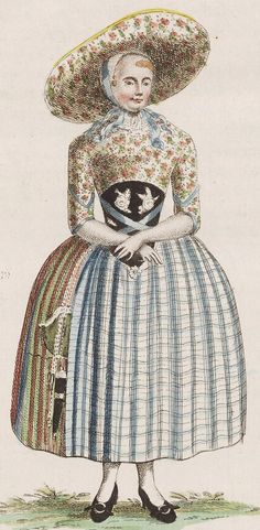 """1792. """"Vrouw in Zuid-Bevelandse dracht."""" (Woman in the costume of South…"""