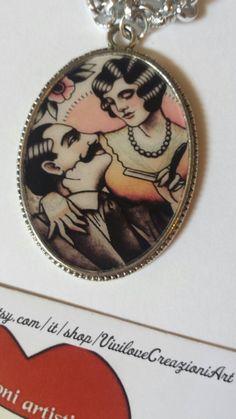 Guarda questo articolo nel mio negozio Etsy https://www.etsy.com/it/listing/254903434/collana-cammeo-tattoo-style-old