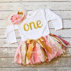 Monogram Name Customized 1st First Birthday Pink Gold Ivory Vintage Shabby Chic Fabric Lace Rag Tie Baby Tutu Headband toddler cake smash by ThePickledPeanut on Etsy
