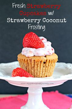 Fresh Strawberry Cupcakes with Dairy Free Strawberry Coconut Frosting - soft, moist and fluffy, these cupcakes are dairy free and so delicious!!