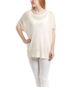 Look what I found on #zulily! White Semisheer-Knit Silk-Blend Sweater by Cullen #zulilyfinds