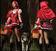 Red ridding hood boots and tights