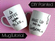 DIY Hand Painted Mugs {Tutorial}
