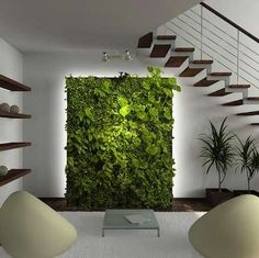 Vertical Gardens This pin inspired us to create a lush living wall as the focal point of the evrgrn loft— the perfect backdrop for the living room campsite via Bob Vila. Vertical Garden Design, Vertical Planter, Artificial Plant Wall, Artificial Flowers, Artificial Hedges, Walled Garden, Blank Walls, Indoor Plants, Indoor Ferns