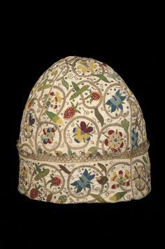 Linen embroidered man's nightcap, English, about 1600-1620, Material(s): linen, silk, silver-gilt; Size: 180 mm x 180 mm x 180 mm, Glasgow Museums